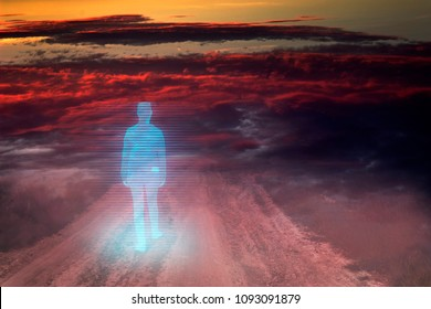 Concept, virtual life on a ravaged planet. Hologram of a girl with a backpack walking along the path in the fog and dust
