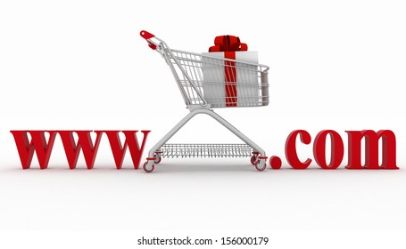 Concept of visiting e-business website. 3d illustration on a white background