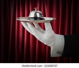 Concept of a waiter or butler offering a service