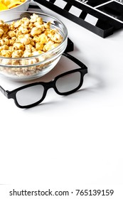concept of watching movies with popcorn white background