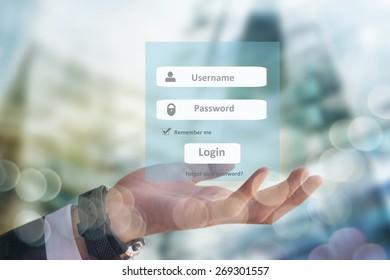 Concept web site creation, businessman holding login interface