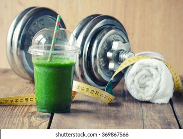 The concept of weight loss, Green smoothie to go
