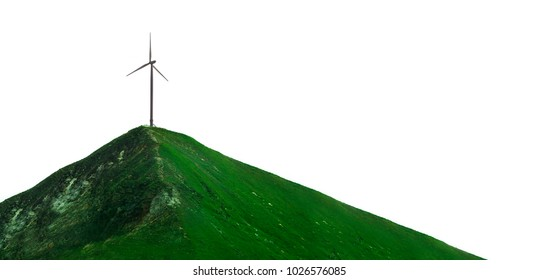 concept of wind turbine on green mountain top. isolated on white