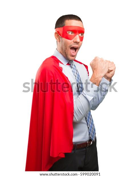 Concept of a winner super businessman
