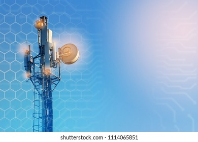 concept of wireless radio Internet. 5G mobile technologies.