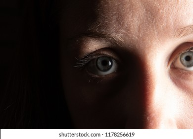 Concept of woman violence, close up of sad and depressed female