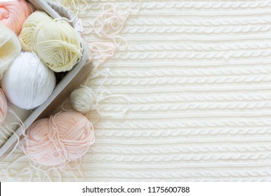 Concept of a woman's hobby. Knitting and work at home. Earnings with needlework.