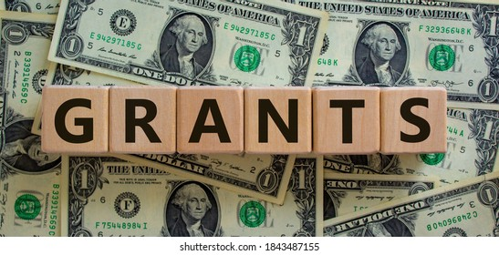 Concept word 'grants' on wooden cubes on a beautiful background from dollar bills. Business concept.