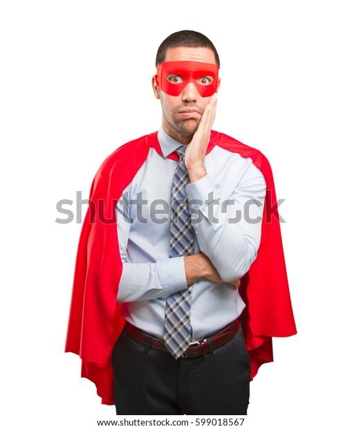Concept of a worried super businessman