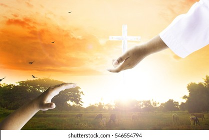 The concept of worship and praise: humans raise their hands to seek help and worship the cross of praise