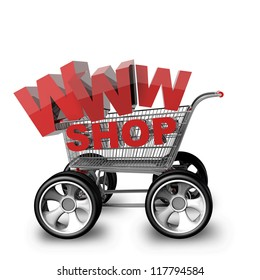 Concept WWW SHOP. shopping cart with big car wheel High resolution 3d render
