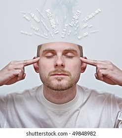concept of young man with open head concentrating and learning