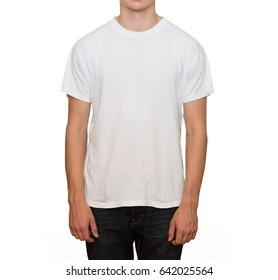 Concept of a young man in a white t-shirt showing a finger in front of