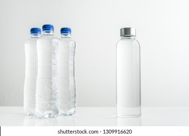 concept of zero waste lifestyle of using glass bollte instead of single use plastic