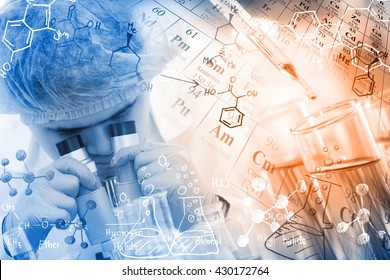 Concepts in Chemistry, chemist using microscope to analyze the sample in laboratory, with chemical equations and periodic table background.