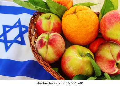 Concepts: Fruits of Israel for export, Fruits in Israel in the local market. Fruits in a basket on the flag of Israel. Apple, Peach, Nectarine, Orange