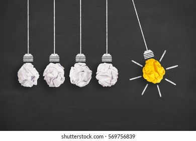 Concepts of idea and innovation with light bulb on blackboard