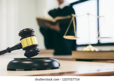 Concepts of law. Lawyer or judge work in the office with gavel and balance.