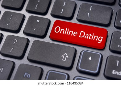 concepts of online dating, with message on enter key of keyboard.