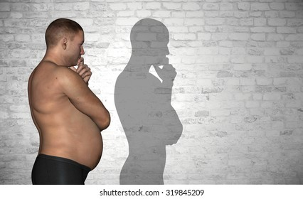Conceptual 3D fat or overweight and slim fit young man on diet over vintage brick wall background metaphor to health, body, fitness, dieting, abdomen, loss, lifestyle, obesity, unhealthy, sport, thin