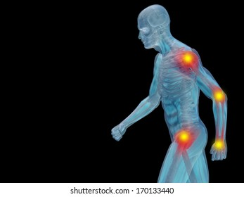 Conceptual 3D human man anatomy or health design, joint or articular pain, ache or injury isolated on black background, for medical, fitness, medicine, bone, care, hurt, osteoporosis,arthritis or body