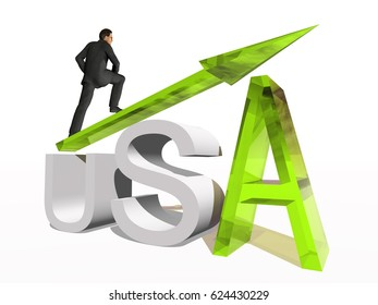 Conceptual 3D human,man or businessman standing over an USA symbol with an arrow isolated on white background