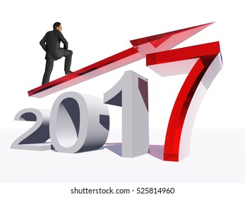 Conceptual 3D illustration human, man businessman standing over an red 2017 year symbol arrow isolated on white background for economy, growth future finance progress success improvement profit design