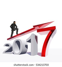 Conceptual 3D illustration human, man or businessman standing over an red 2017 year symbol with an arrow on background  for economy, growth, future, finance, progress success improvement profit design