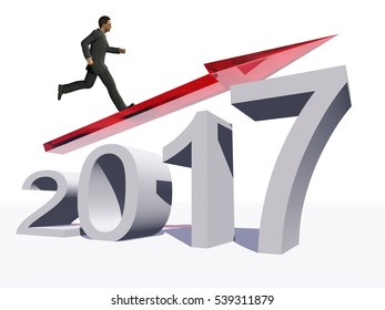 Conceptual 3D illustration human, man businessman standing over an red 2017 year symbol with an arrow on background for economy, growth, future, finance, progress, success, improvement, profit designs