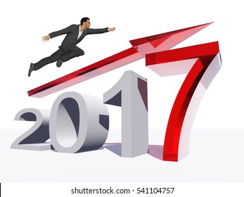 Conceptual 3D illustration human, man businessman flying over an red 2017 year symbol with an arrow on background for economy, growth, future, finance, progress, success, improvement, profit designs