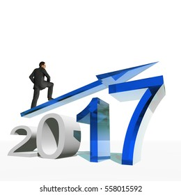 Conceptual 3D illustration human man businessman standing over an blue 2017 year symbol with an arrow on background for economy, growth, future, finance, progress, success, improvement, profit designs