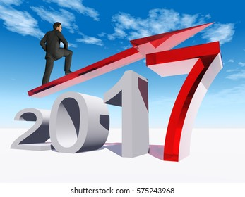 Conceptual 3D illustration human, man businessman standing over an red 2017 year symbol an arrow on blue sky background for economy, growth, future, finance, progress success improvement profit design