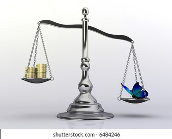Conceptual 3d rendering of a silver brass scale with money and a  butterfly