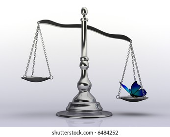 Conceptual 3d rendering of a silver brass scale with a  butterfly on pan