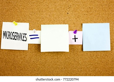 Conceptual announcement text caption inspiration showing Microservices Business concept for Micro Services written on Sticky Note on cork background with copy space