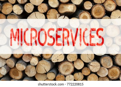 Conceptual announcement text caption inspiration showing Microservices Business concept for Micro Services written on wooden background with copy space