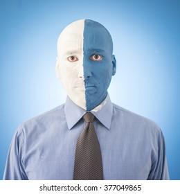 Conceptual artistic face portait photo of a man