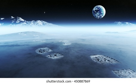 Conceptual artwork of mankind exploring space and alien planets. Footprints are the evidence left behind with the view of earth in distant space ( Elements of this 3D render furnished by NASA )