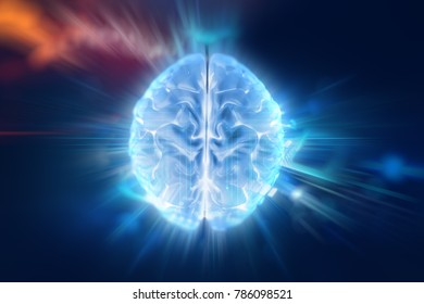 Conceptual background of Artificial intelligence robot trading concept, human brain  on financial technology element ,3d illustration