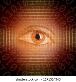 conceptual background image of binary code and abstract lights of network and security