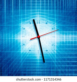 conceptual background image of binary code and abstract lights of internet and time