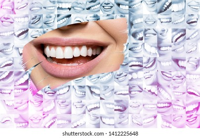 Conceptual background makes of set of laughing human faces with great teeth and detail of young woman's beautiful smile . Healthy beautiful male and female smiles. Set of perfect smiles. Happy people