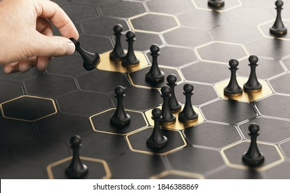 Conceptual board game with a hand moving pawns. Black and golden background. Concept of market positioning or business strategy. Composite image between a hand photography and a 3D background.