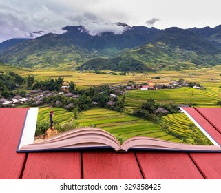 conceptual book image of Traveler take picture at Rice fields on terraced of Tu le District, YenBai province, Northwest Vietnam