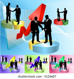 Conceptual business background, people shaking hands on pie charts in front of soaring profits. Raster version