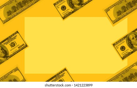 conceptual business and finance image of one hundred American dollar bills arrangement
