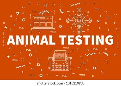 Conceptual business illustration with the words animal testing
