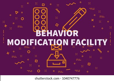 Conceptual business illustration with the words behavior modification facility