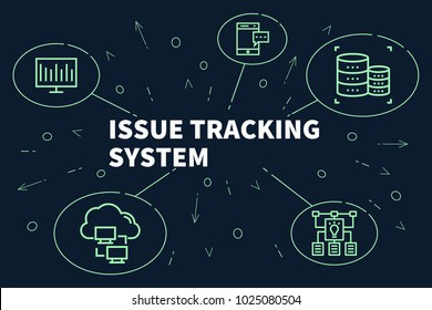 Conceptual business illustration with the words issue tracking system