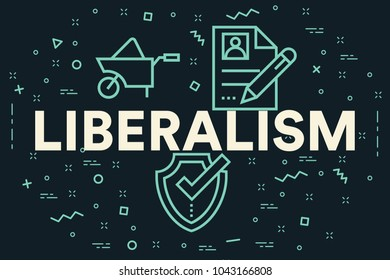 Conceptual business illustration with the words liberalism